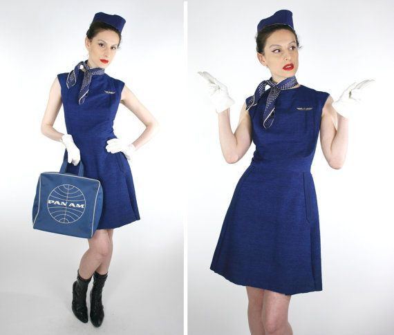 Flight Attendant Costumes DIY  RESERVED for Karen BEST Vintage 50s 60s Stewardess Flight