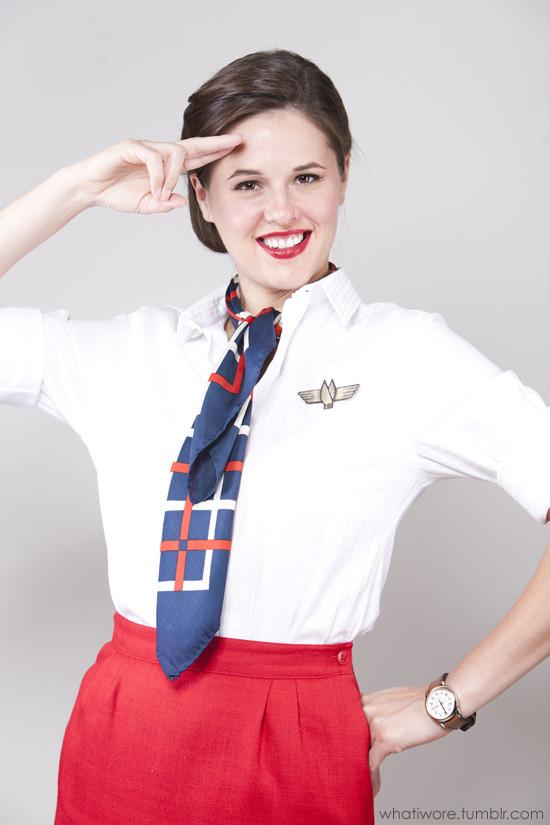 Flight Attendant Costumes DIY  Homemade Halloween Flight Attendant on What I Wore