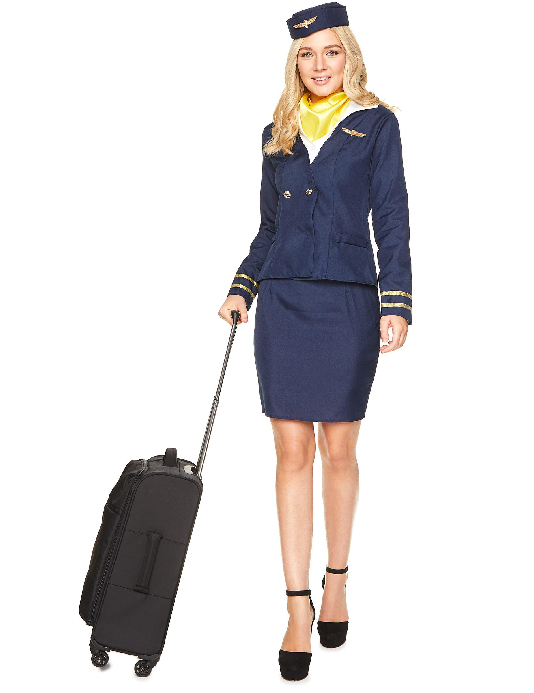 Flight Attendant Costumes DIY  Blue flight attendant costume for women Adults Costumes