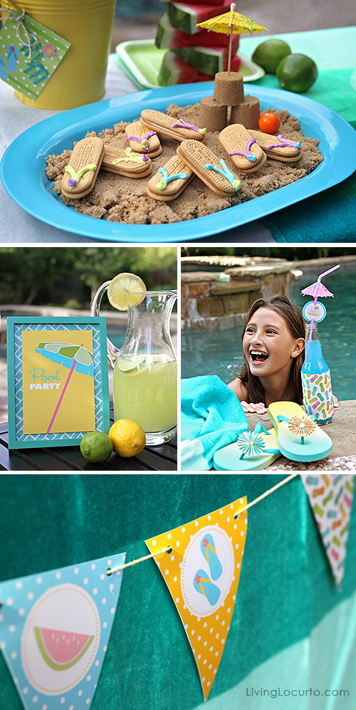 Food Ideas For Pool Party  Free Printable Pool Party Tags Summer Party Ideas