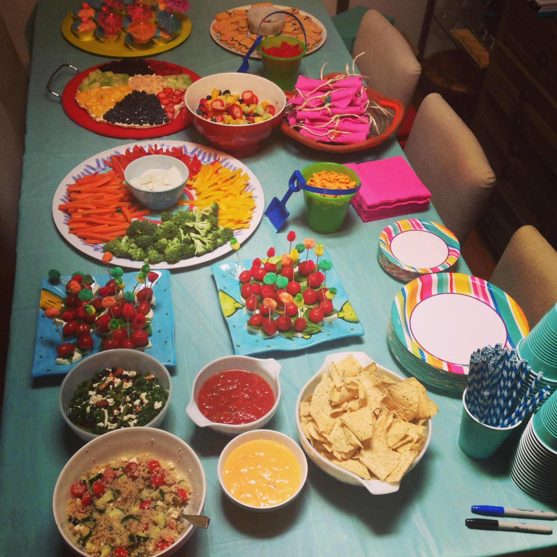 Food Ideas For Pool Party  Adult pool party food table Hosting