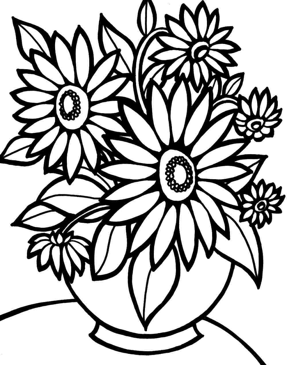 Free Flower Coloring Pages For Kids  Colouring Pages Bouquet Flowers Printable Free For Kids