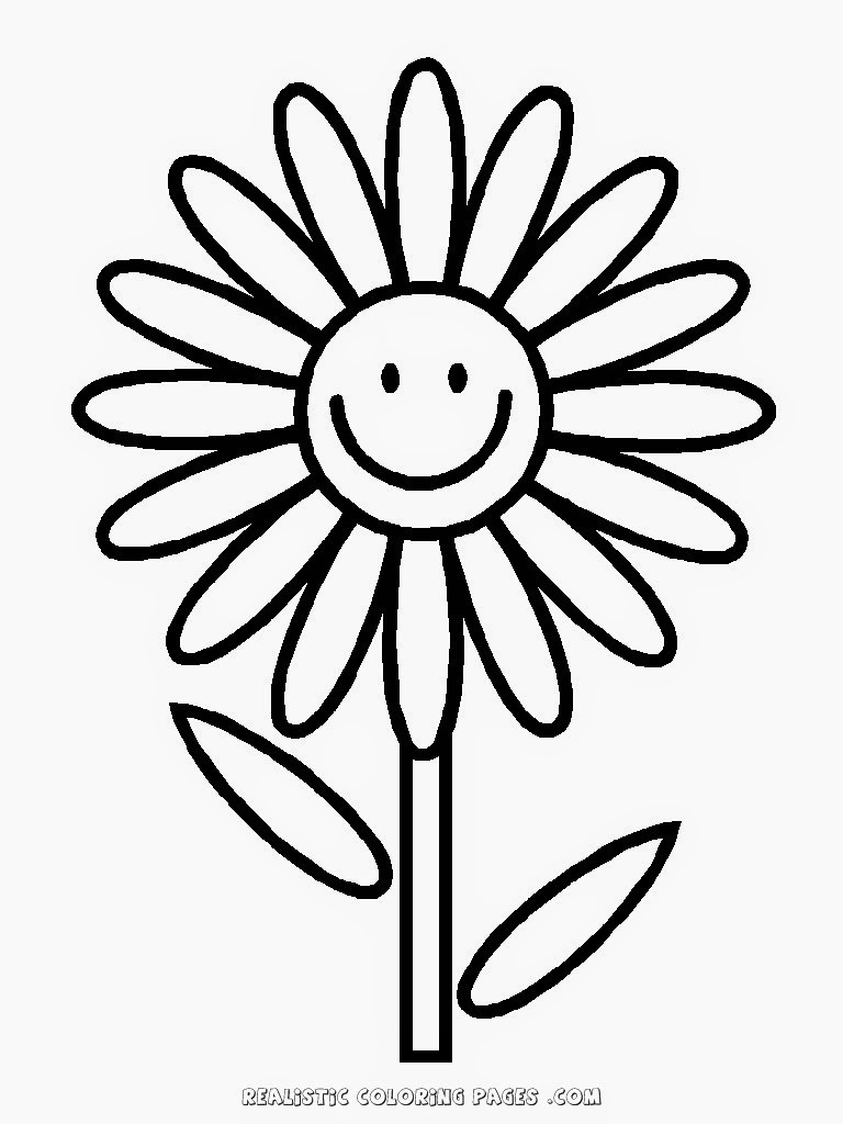 Free Flower Coloring Pages For Kids  Simple Flower Kindergarten Kids Coloring Pages