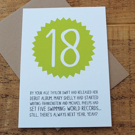 Funny 18Th Birthday Gifts  By Your Age Happy 18th Birthday Card Funny Birthday