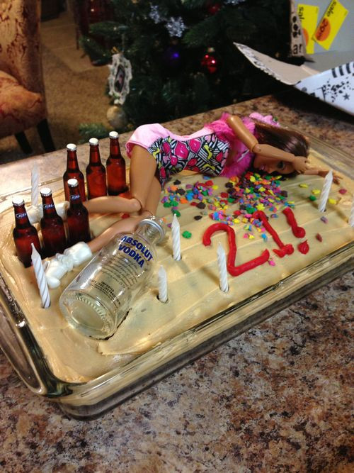 Funny 21St Birthday Cake  Drunk Passed Out Barbie Doll Wild Party Happy 21st