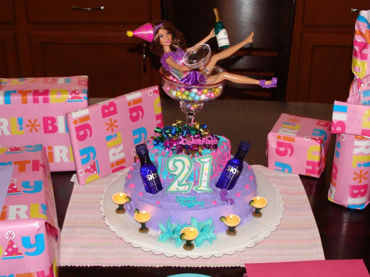 Funny 21St Birthday Cake  I always see the Barbie all drunk over the cake I think