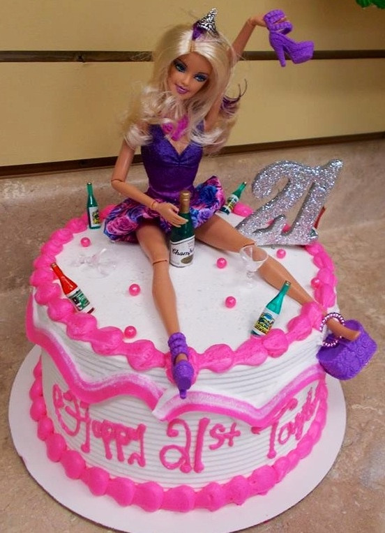 Funny 21St Birthday Cake  Funny Barbie cake aw man I am makin this