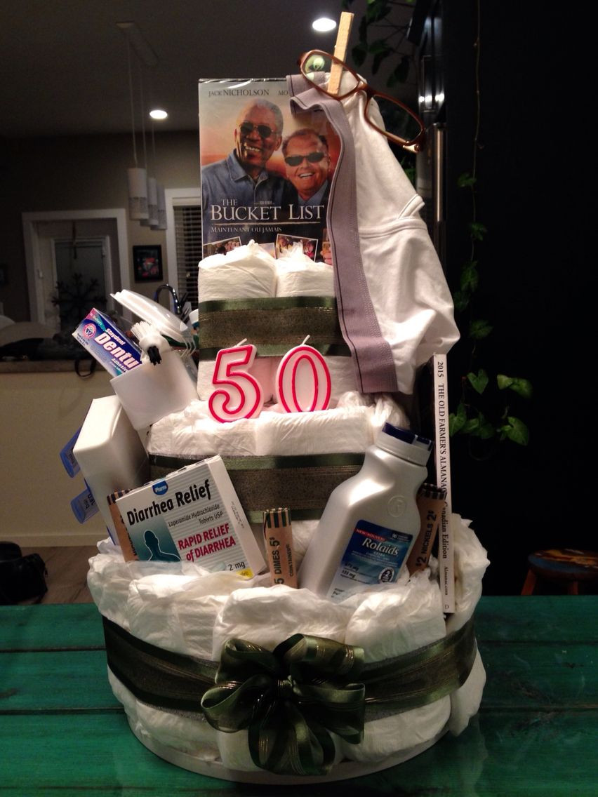 """Funny Birthday Gifts For Men  """"Depends"""" diaper cake for my dads 50th birthday diy"""