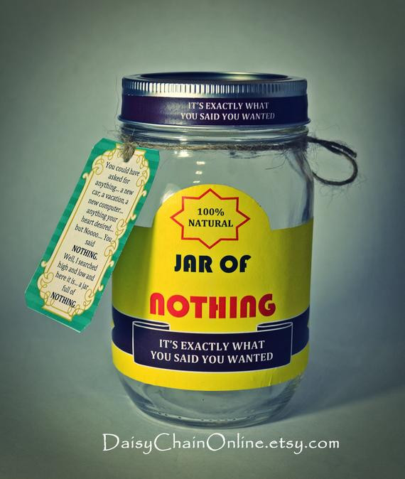 Funny Birthday Gifts For Men  Printable Labels for DIY Jar of Nothing DIY Gag