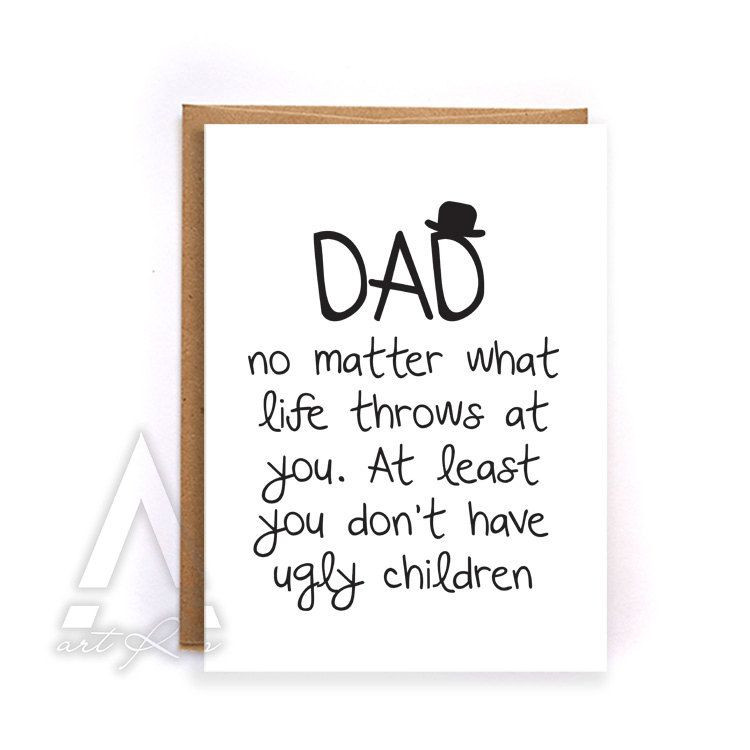 Funny Birthday Quotes For Kids  Dad birthday card from kids thank you card funny
