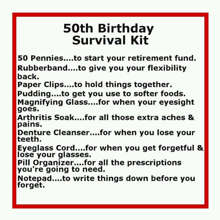 Funny Sayings For 50Th Birthday  50th Birthday Survival Kit Funny quotes