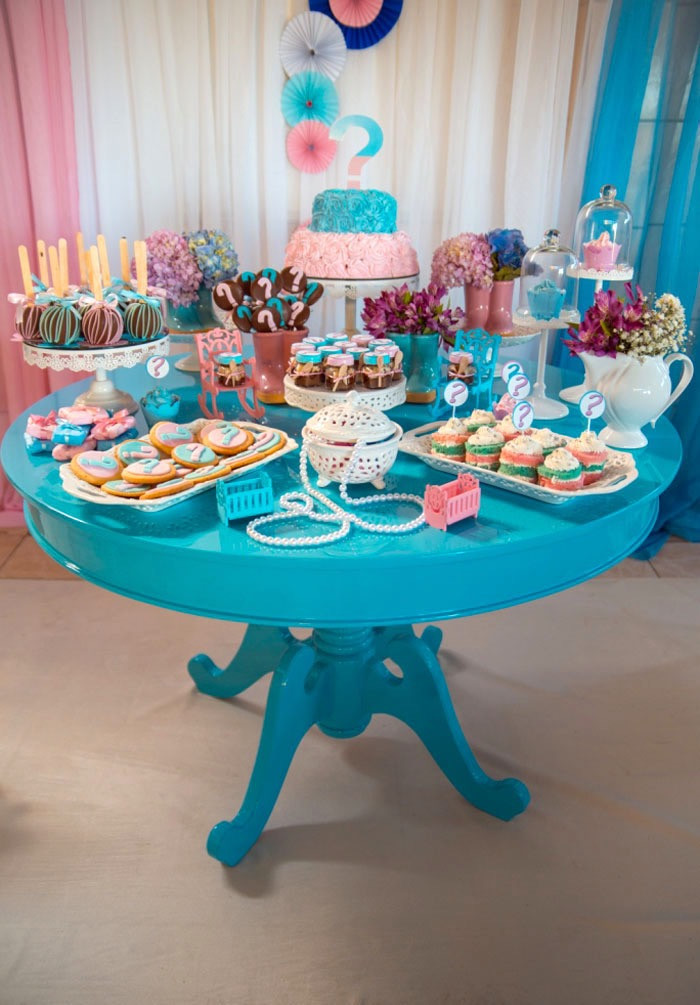 Gender Reveal Ideas For Party  Kara s Party Ideas Gender Reveal Tea Party