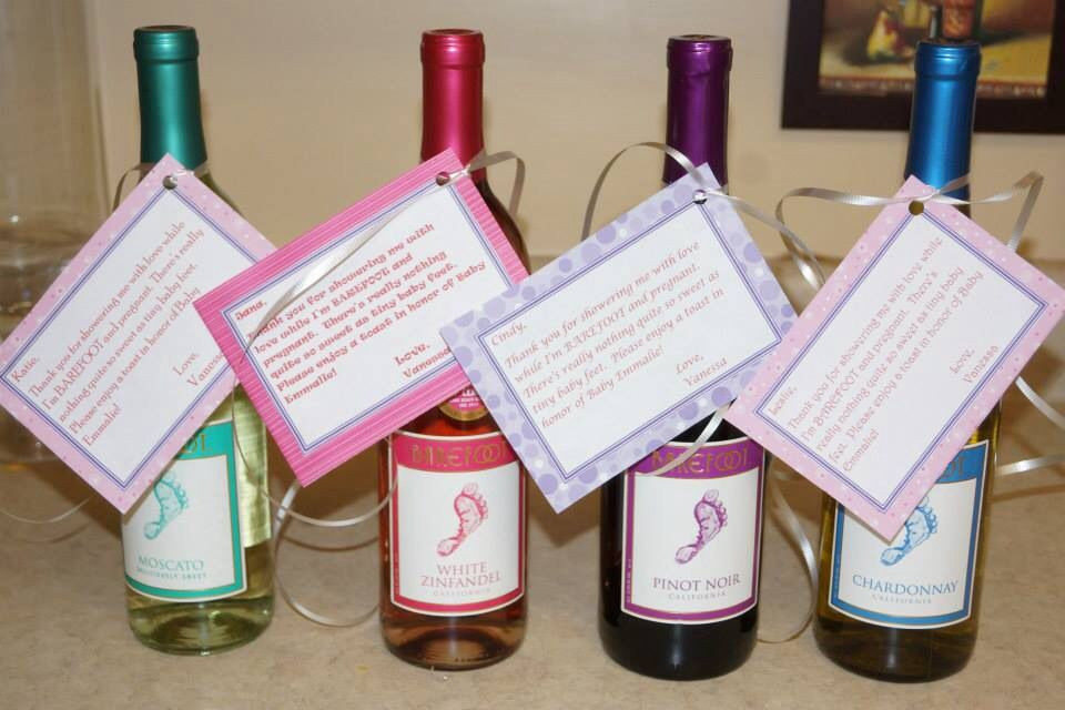 Gift Ideas For Baby Shower Host  Baby shower hostess t barefoot wine with a cute little