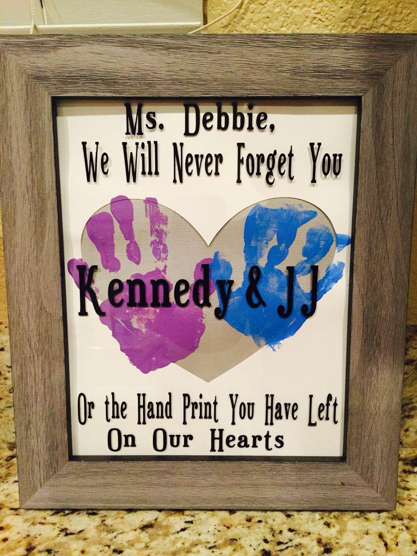 Gift Ideas For Babysitter Daycare Provider  Babysitter daycare worker t vinyl handprint art