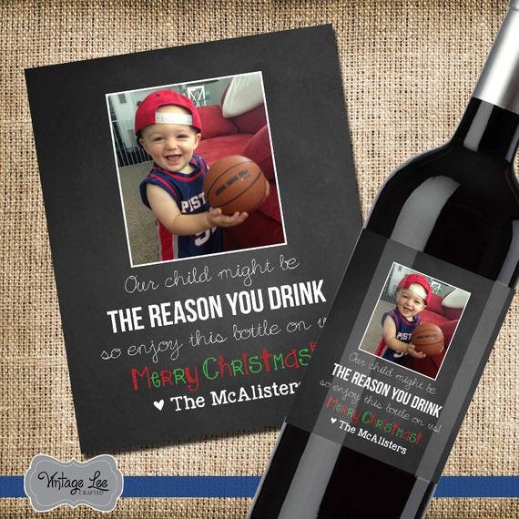 Gift Ideas For Babysitter Daycare Provider  Teacher Christmas Wine Label Personalized Teacher Gift