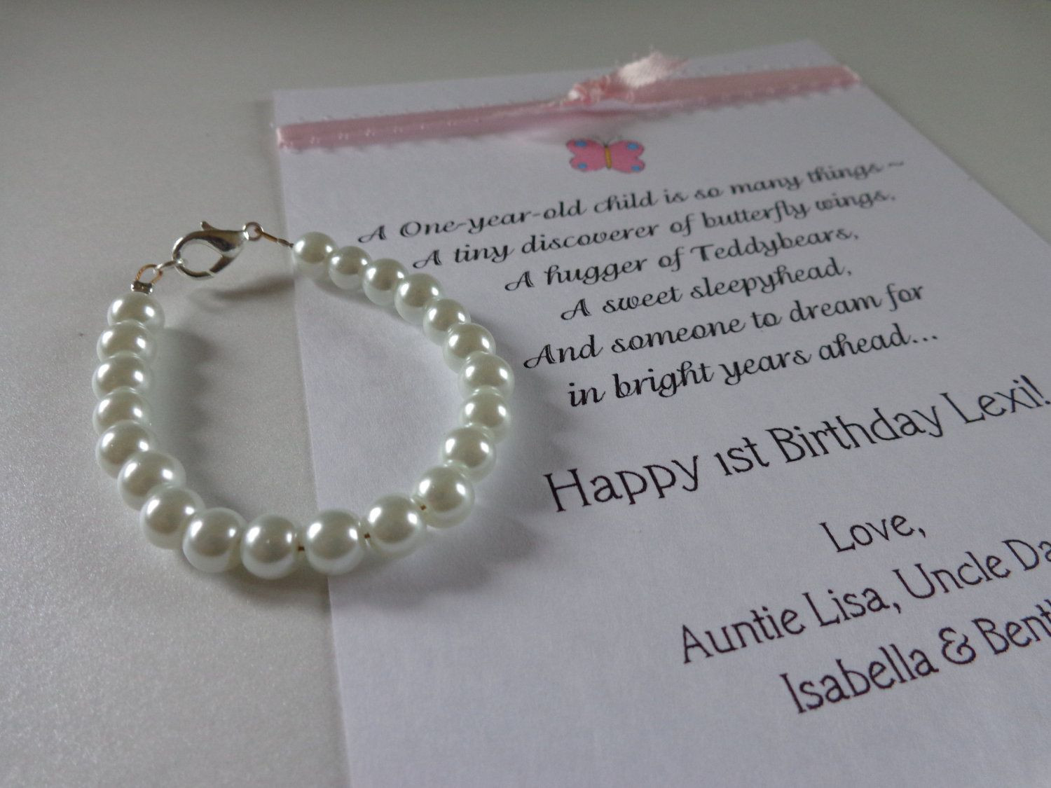 Gift Ideas For Girls First Birthday  BABY GIRL 1st Birthday Gift Pearl Bracelet with Birthday