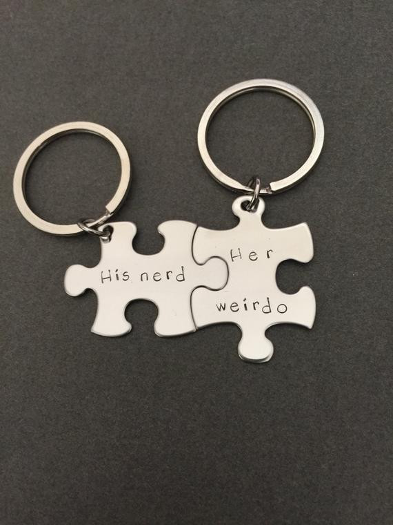 Gift Ideas For Nerdy Girlfriend  His Nerd Her Weirdo keychains Geek Gift by customhemptreasures