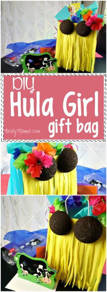 Gift Ideas For Nerdy Girlfriend  DIY Hula Girl Gift Bag Nerdy Mamma