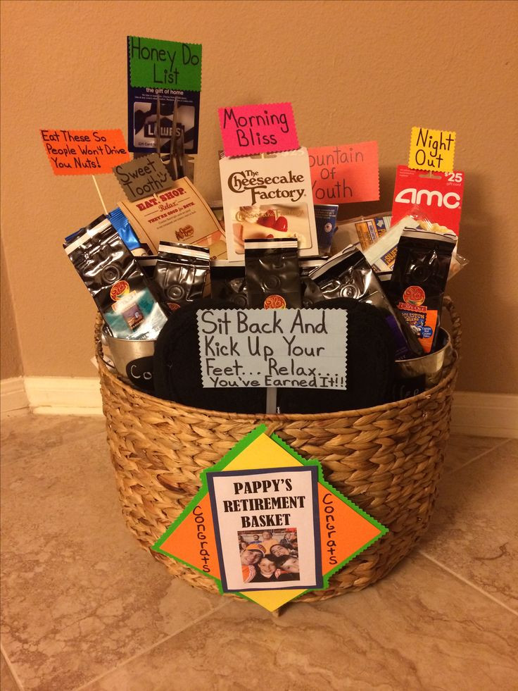 Gift Ideas For Retirement Party  23 best images about Basket Ideas on Pinterest