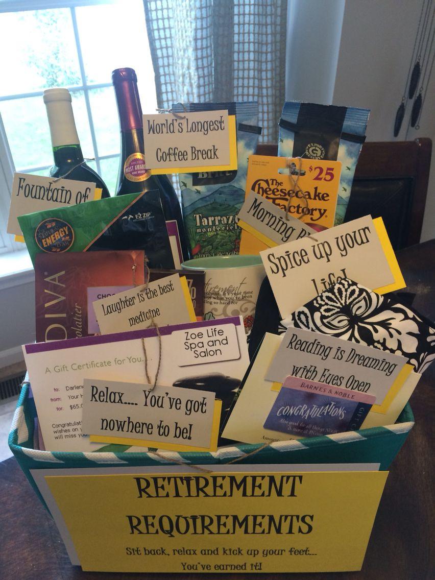 Gift Ideas For Retirement Party  Cute retirement t basket Diy