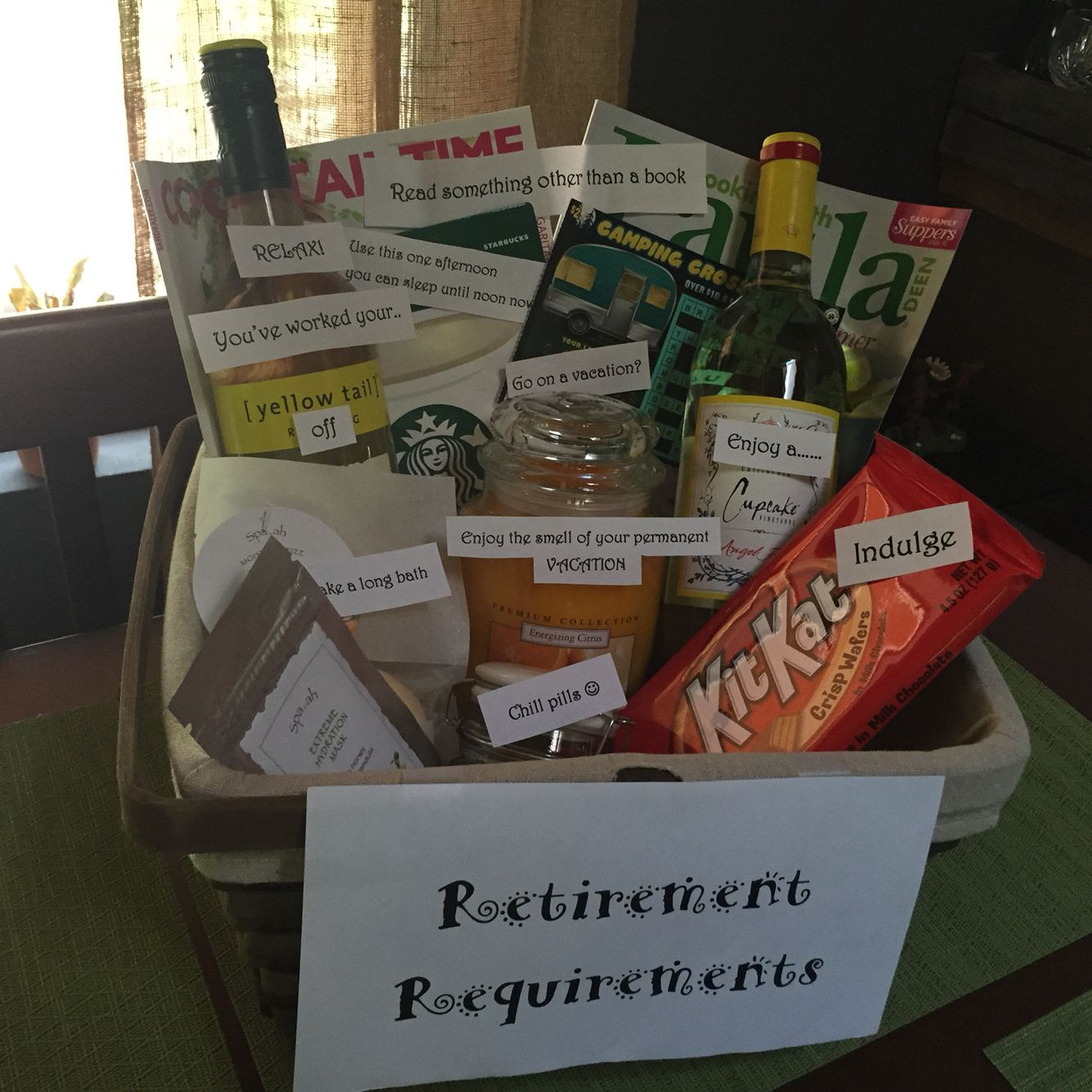 Gift Ideas For Retirement Party  Retirement requirements t basket