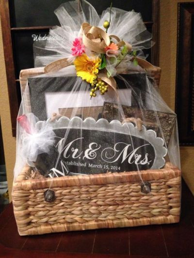 Gift Ideas For Wedding  Bridal shower basket idea wrapped in tulle for the Mr