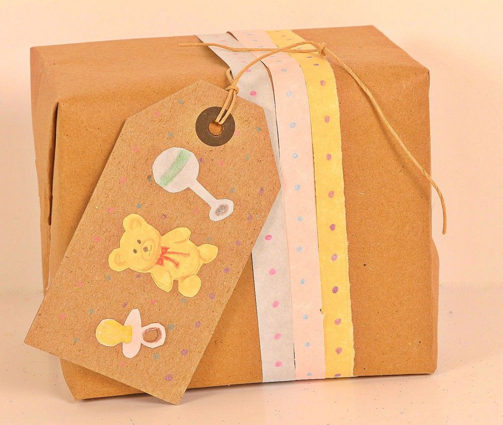 Gift Wrapping Ideas For Baby Showers  Baby Shower Gift Wrapping Kraft Paper