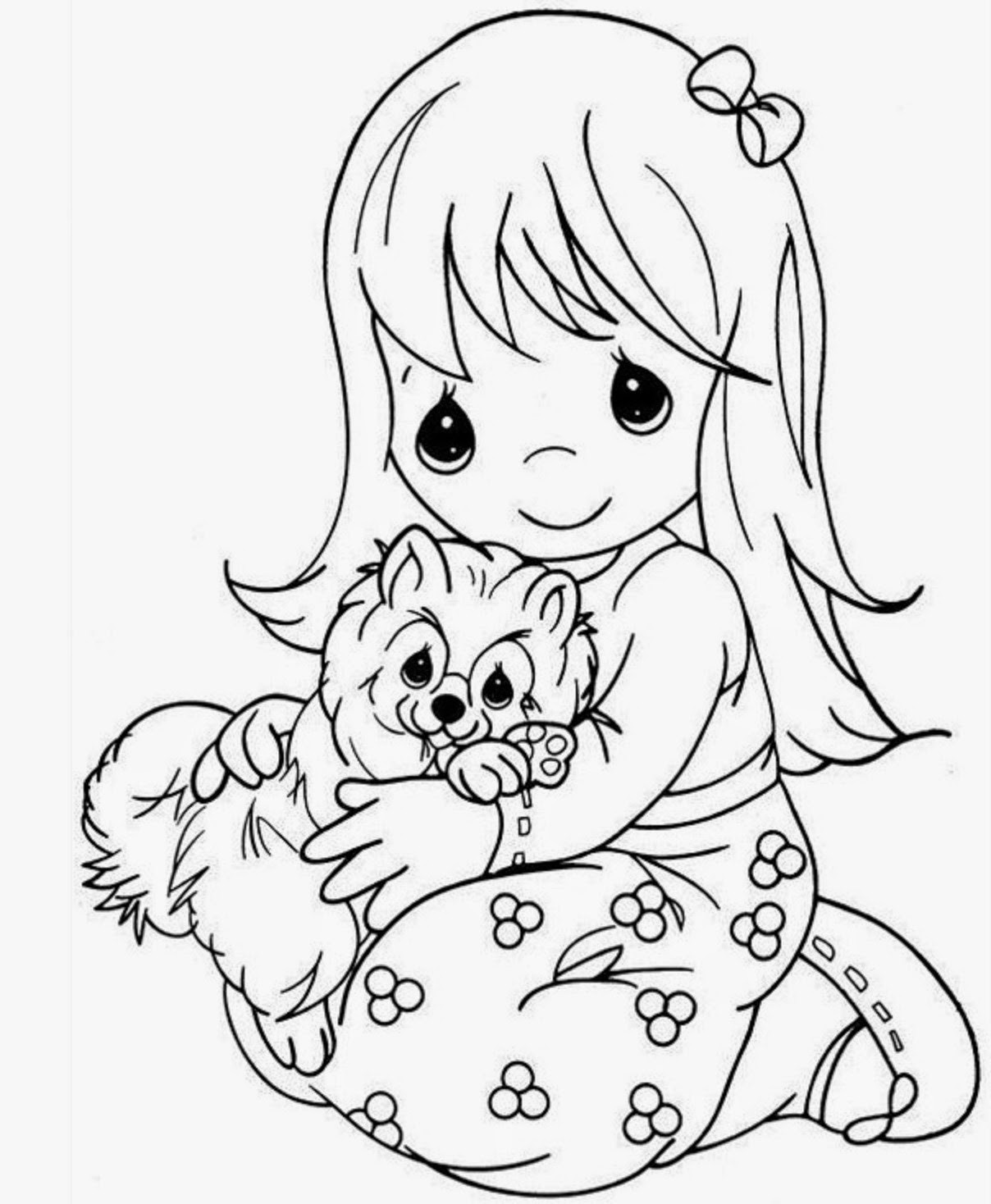 Girl Cartoon Coloring Pages  colours drawing wallpaper Beautiful Precious Moments Girl