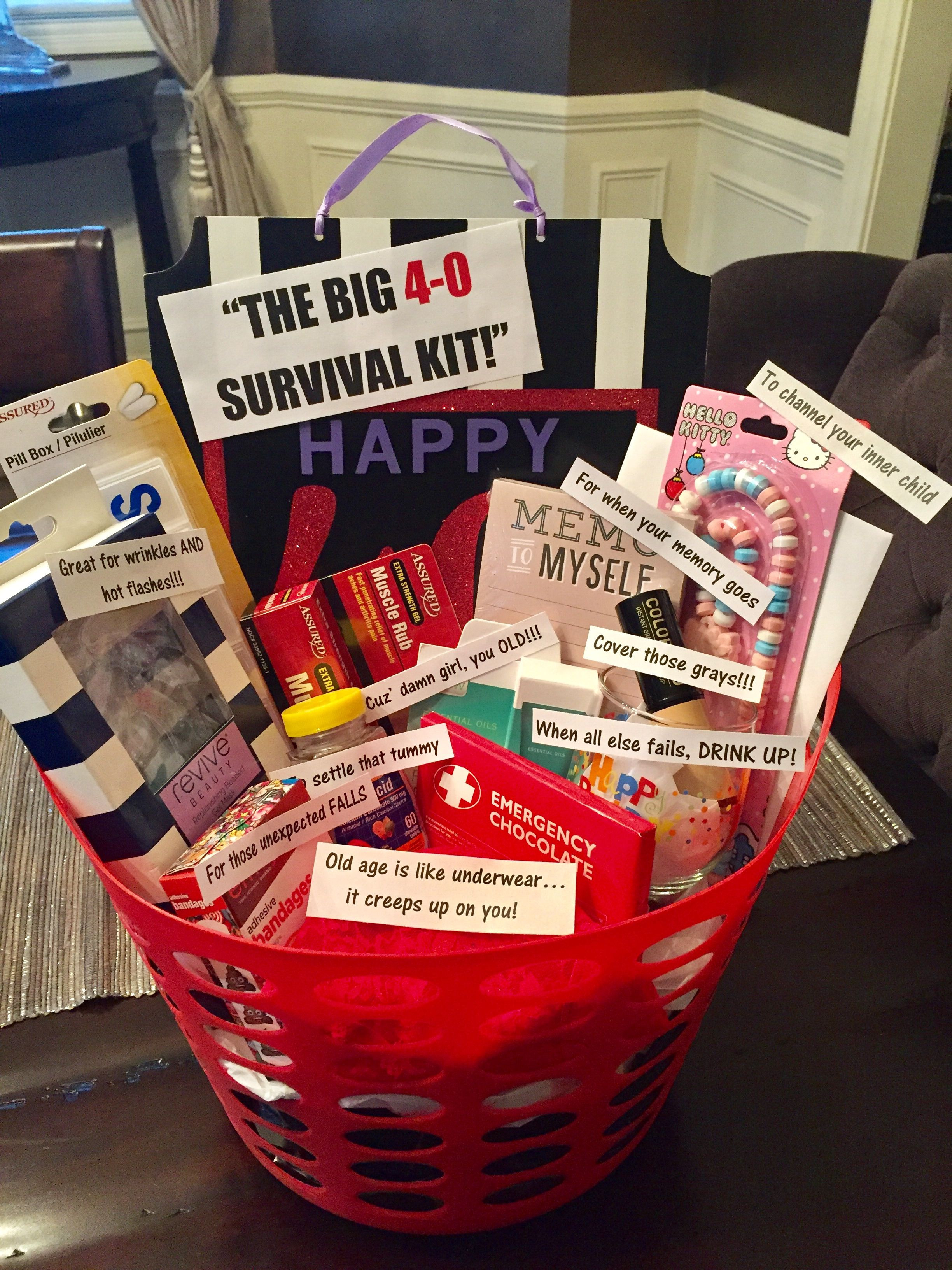 Good 40Th Birthday Gifts  40th birthday survival kit for a woman most things from
