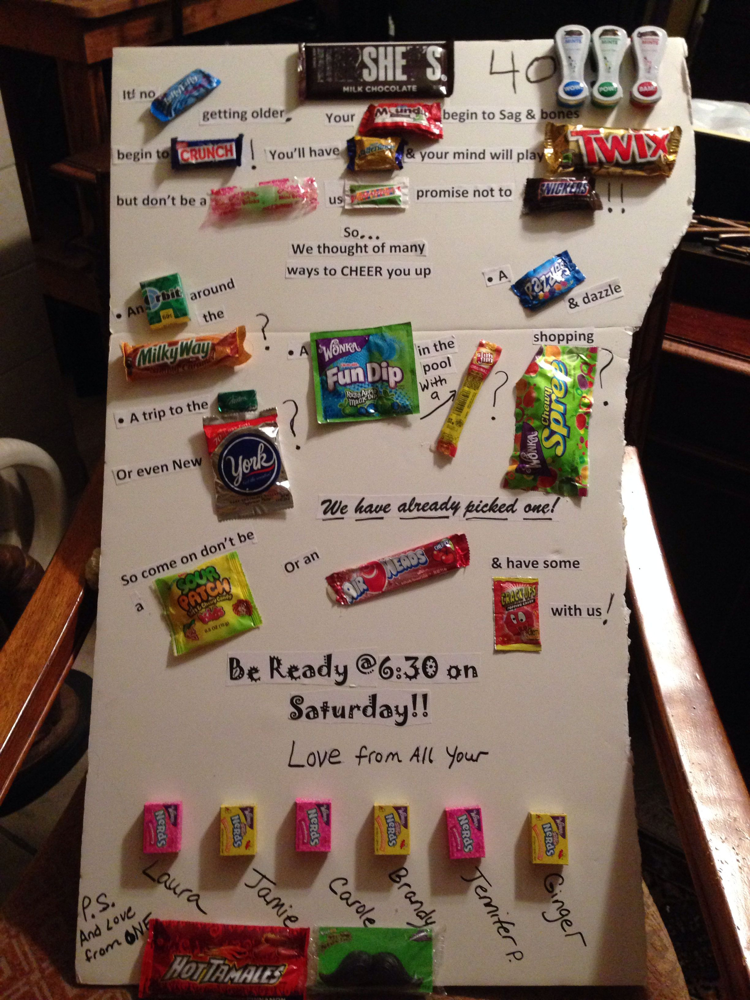 Good 40Th Birthday Gifts  Candy bar sayings Friends 40th birthday crafts