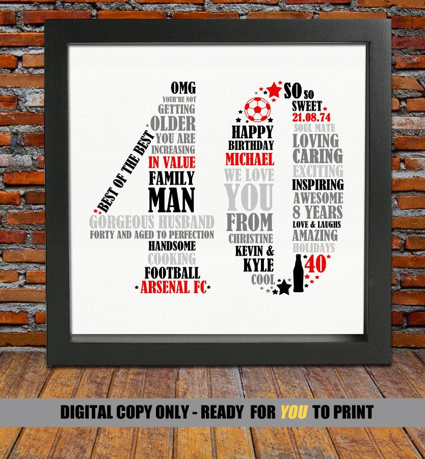 Good 40Th Birthday Gifts  Personalized 40th Birthday Gift for Him 40th birthday 40th