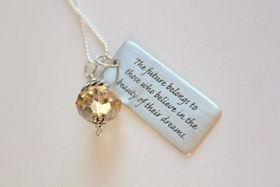 Graduation Engraving Quotes  Graduation Necklace Graduation Gift for her The Future
