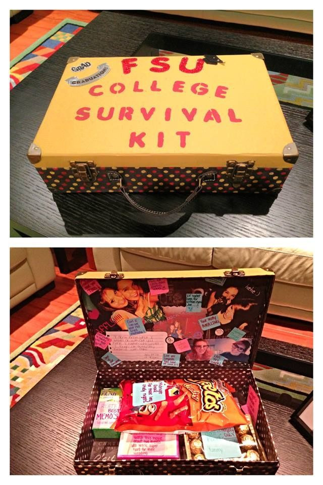 Graduation Gift Ideas For Friends  This cute survival kit includes things like pictures food