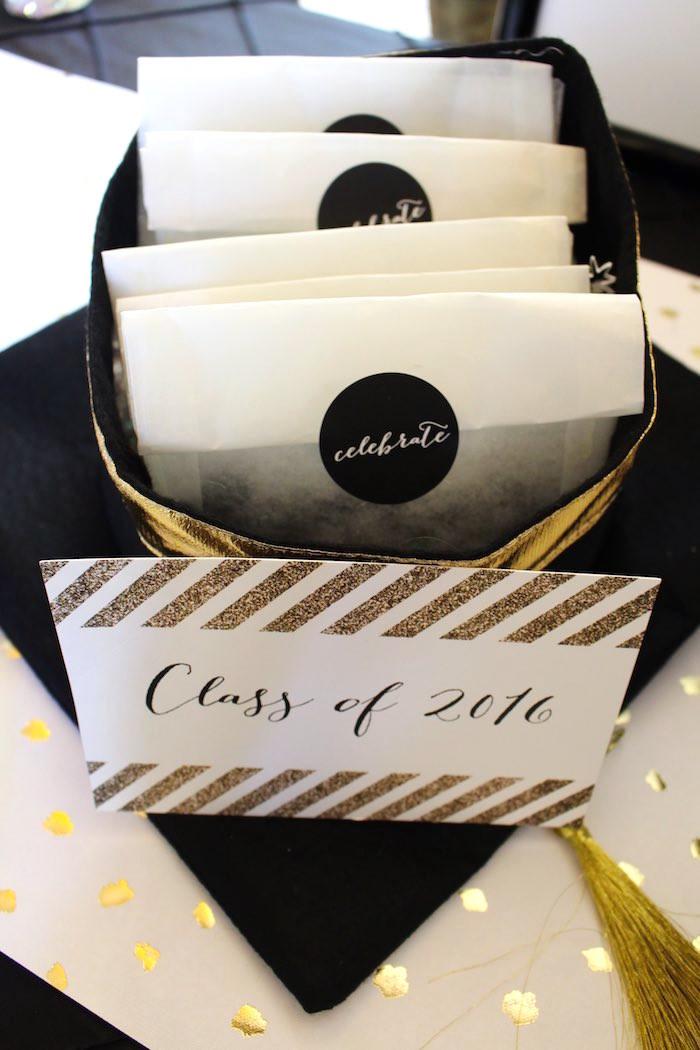 Graduation Party Favor Ideas  Kara s Party Ideas Black White Gold Graduation Party