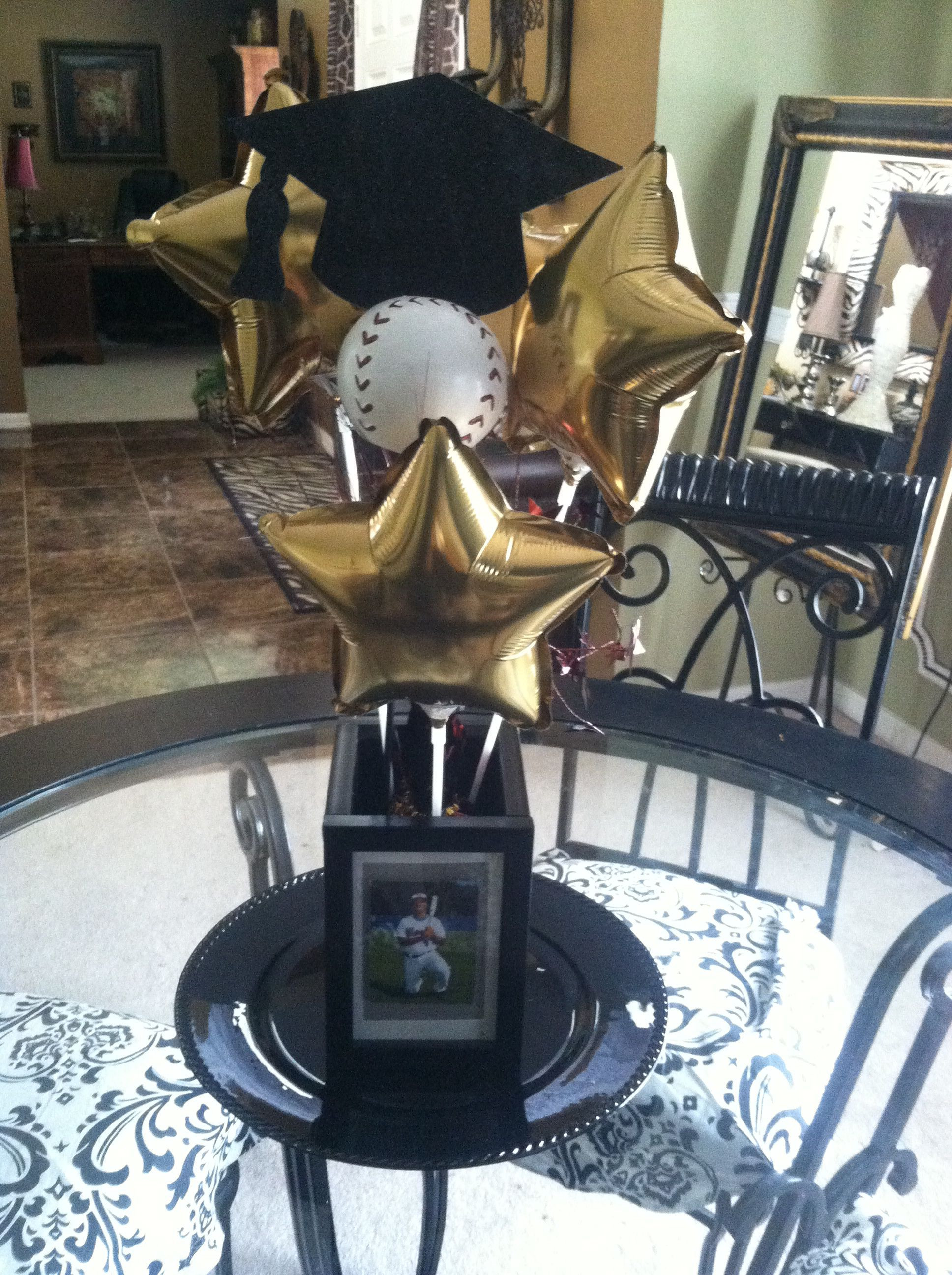 Graduation Party Ideas For Guys  Graduation centerpiece love this without he baseball for