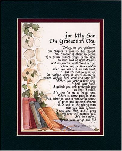 """Graduation Quotes For Son From Mother  """"For My Son on Graduation Day"""" Touching 8x10 Poem Double"""