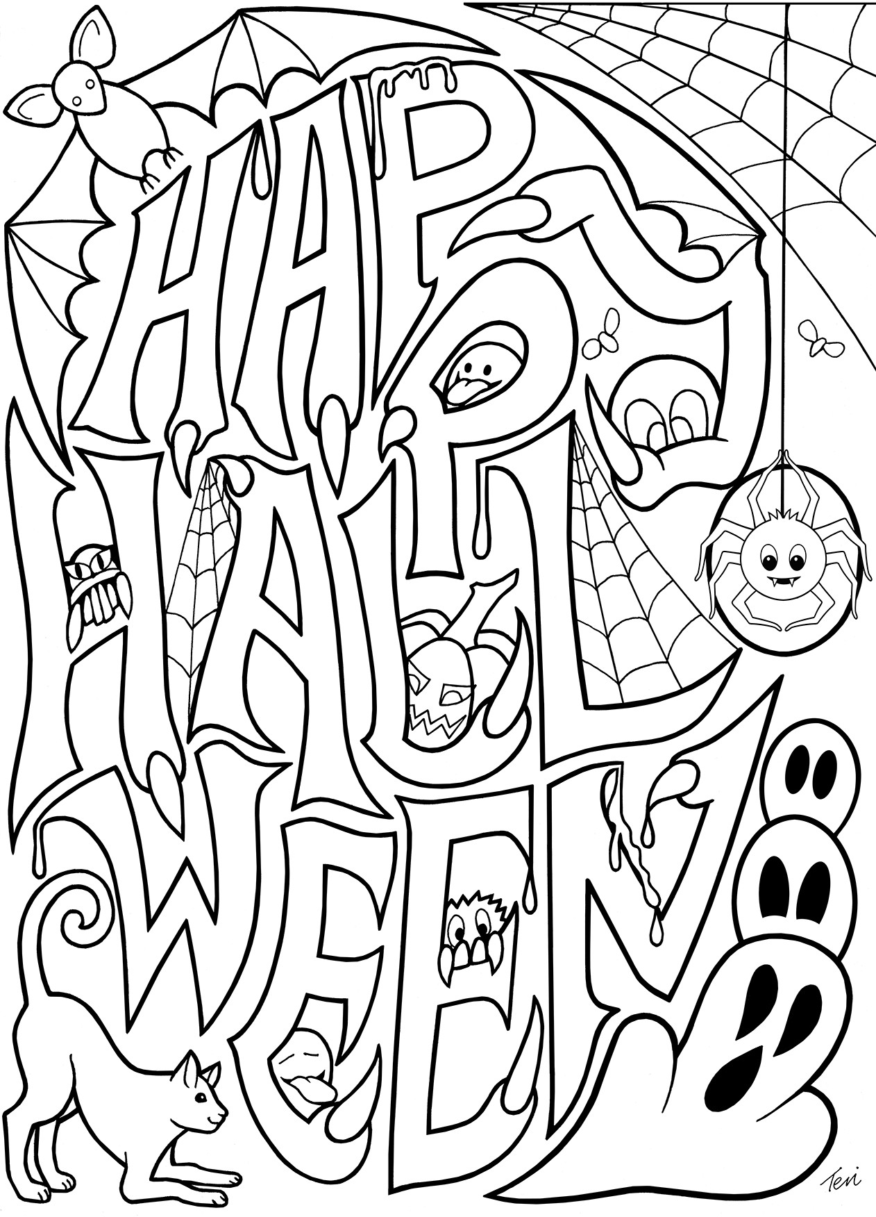 Halloween Coloring Pages To Print  Free Adult Coloring Book Pages Happy Halloween by Blue