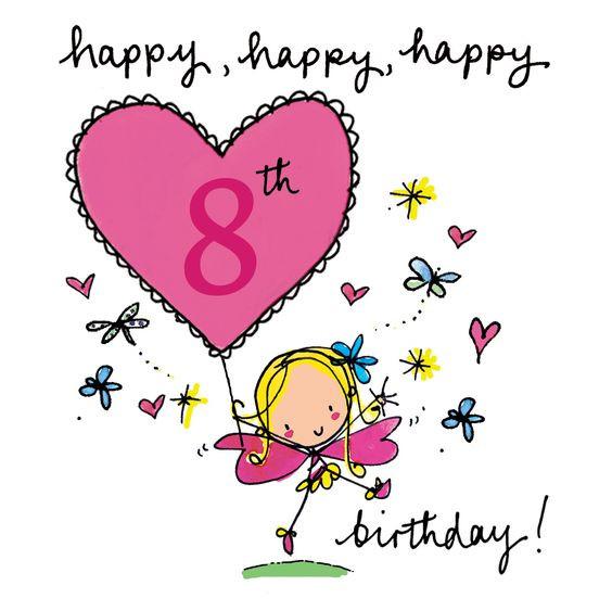 Happy 8Th Birthday Quotes  Happy 8th Birthday Fairy Age Cards Pinterest