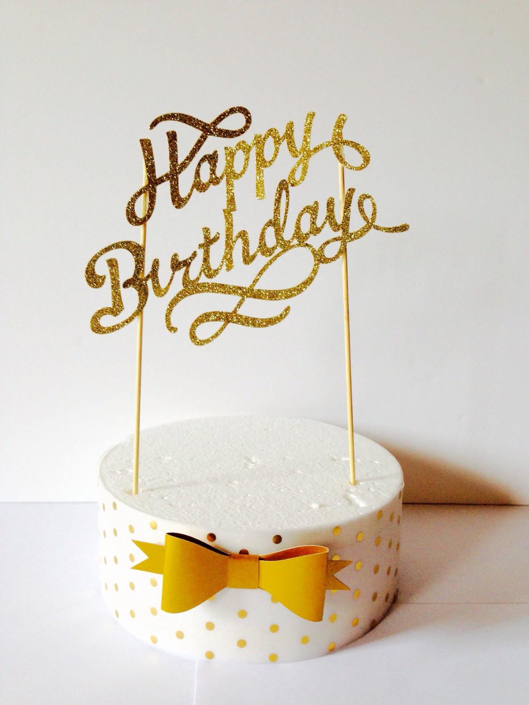 Happy Birthday Cake Topper  gold happy birthday cake topper fancy cake topper1st