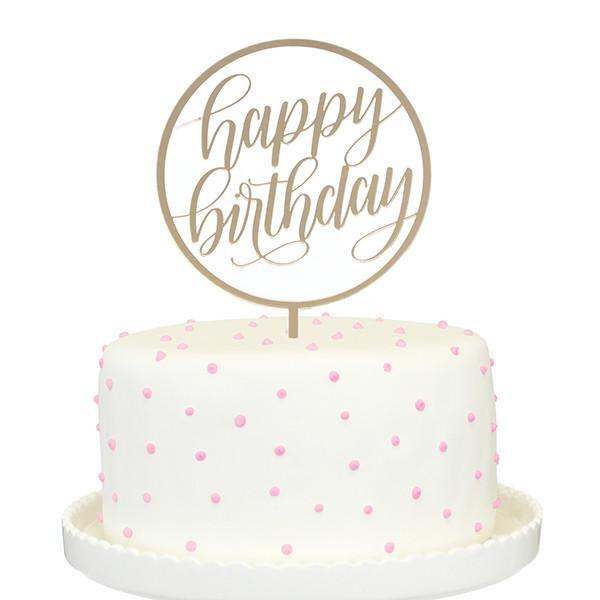 Happy Birthday Cake Topper  Happy Birthday Gold Mirror Cake Topper – Alexis Mattox Design