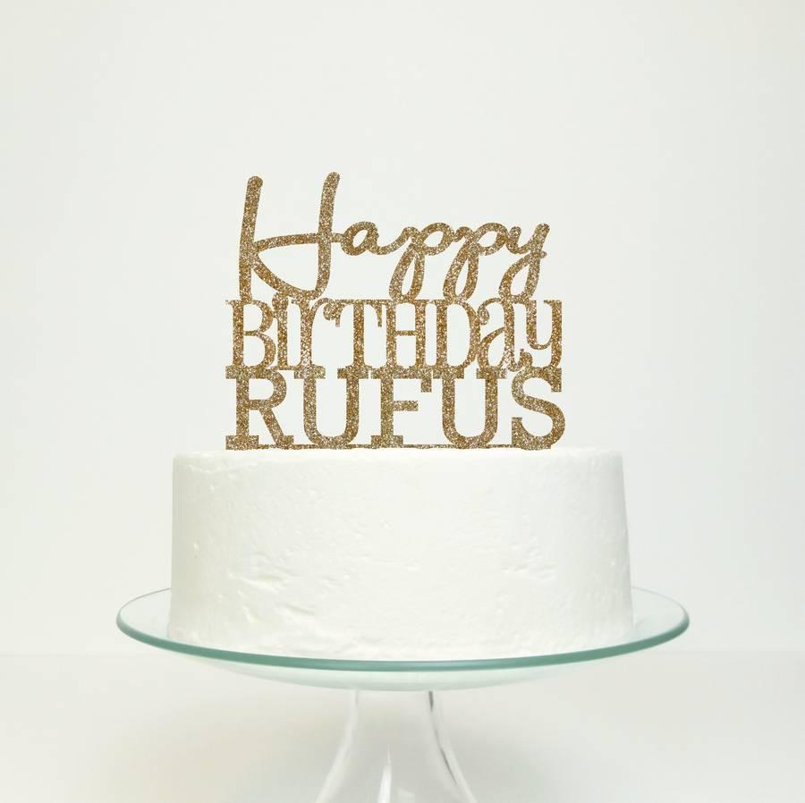 Happy Birthday Cake Topper  personalised happy birthday cake topper by miss cake
