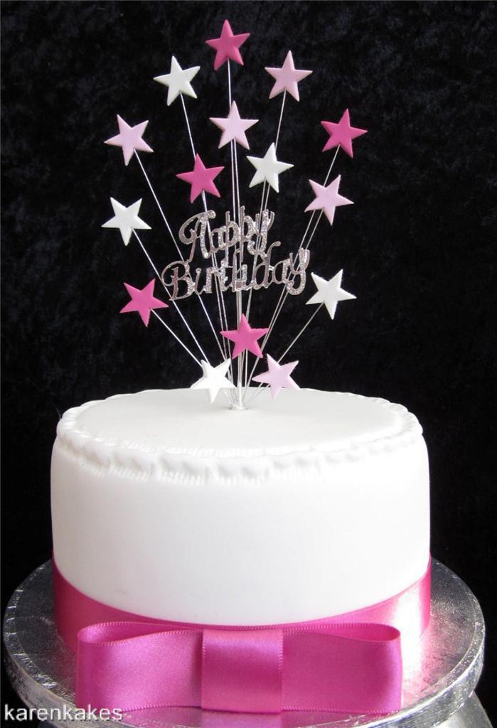 Happy Birthday Cake Topper  DIAMANTE HAPPY BIRTHDAY CAKE TOPPER WITH STARS SUITABLE