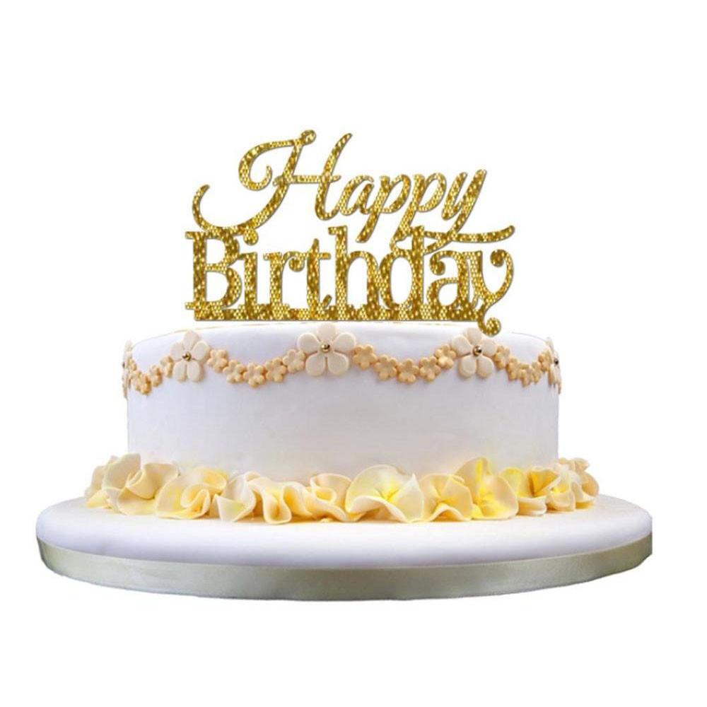 Happy Birthday Cake Topper  Honana CF CT03 Happy Birthday Acrylic Cake Topper Golden