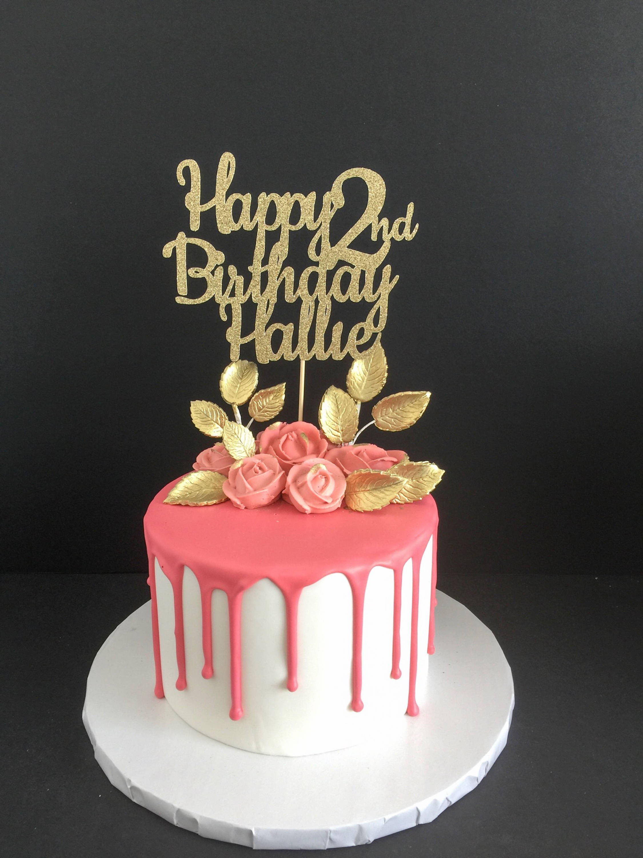 Happy Birthday Cake Topper  Any Name Any Age Happy Birthday Cake Topper Birthday Cake