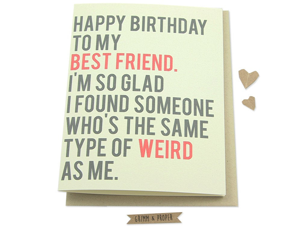 Happy Birthday Funny Best Friend  Funny Best Friend Birthday Card Friend s by GrimmAndProper