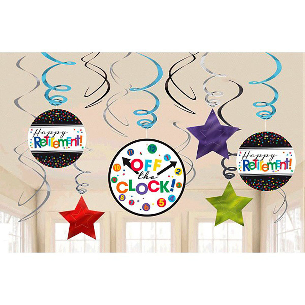 Happy Retirement Party Ideas  ficially Retired Hanging Swirl Decorations Happy