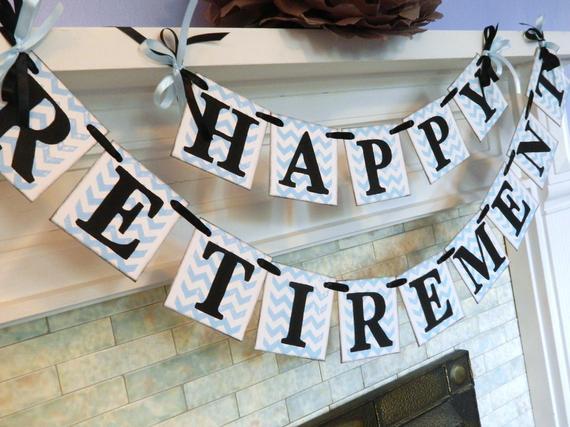 Happy Retirement Party Ideas  Happy Retirement Banner Retirement Party Decor Chevron