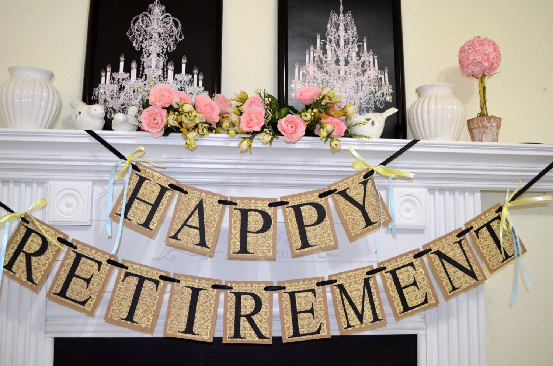 Happy Retirement Party Ideas  Happy Retirement Banner Congratulations Sign Retirement