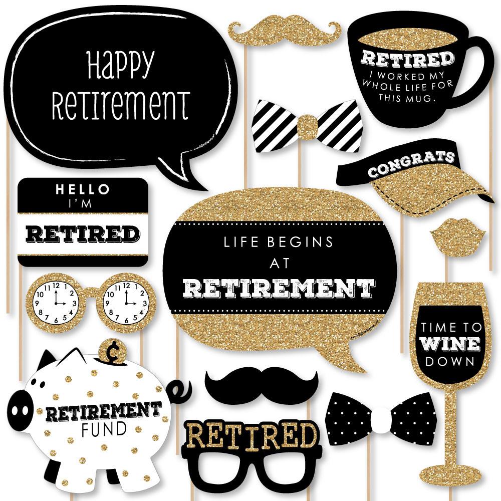 Happy Retirement Party Ideas  Happy Retirement Retirement Party Booth Props Kit