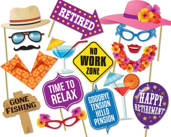 Happy Retirement Party Ideas  Printable Retirement Booth Props by Instantgraffix